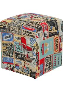 Puff Decorativo Lymdecor Quadrado Vintage Multicolorido