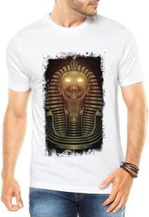 Camiseta Criativa Urbana Faraó Neon Olhos Luz Dourado - Masculino-Branco