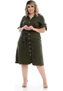 Vestido Midi Com Manga Verde Plus Size