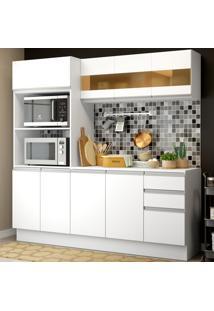 Cozinha Compacta 100% Mdf Madesa Smart 190 Cm Com Armário, Balcão E Tampo Branco
