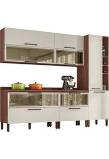 Cozinha Modulada 7 Peças Viv Concept C08 Off White/Nogueira - Kit´S Pa