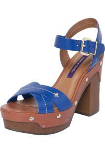 Sandália Cravo & Canela Plataforma Clog Azul