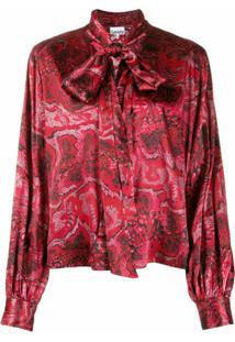 Ganni Blusa Com Amarração No Gola - Vermelho