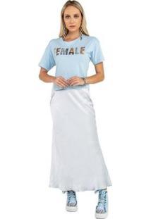 Blusa De Malha Com Bordado Caos Feminina - Feminino-Azul Claro