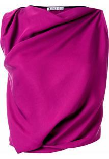 Maticevski Vestido Drapeado Sem Mangas - Roxo