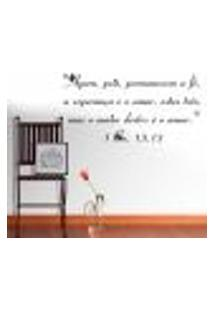 Adesivo De Parede Frase Fé. Esperança E Amor - M 40X80Cm