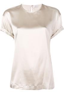 Brunello Cucinelli Short-Sleeve Silk Blouse - Neutro