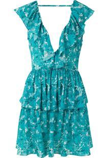 Adriana Degreas Vestido Curto Flower Bloom De Seda - Azul