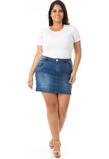 Saia Curta Jeans Com Barra E Lycra Plus Size - Confidencial Extra