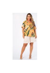 Blusa Estampada Trópicos Plus Size Amarelo