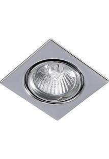 Spot Embutir Dicroica Quadrado Cromado C/ Lâmpada 50W 127V Bronzearte