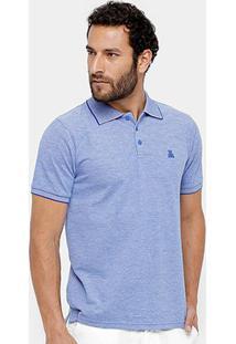 Camisa Polo Broken Rules Piquet Mesclado Masculina - Masculino-Azul