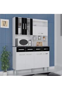 Cozinha Compacta 7 Portas 4 Gavetas Melissa 6280 Branco/Preto - Poquema