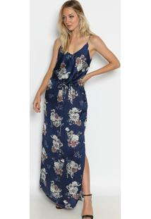 Vestido longo azul marinho com fenda