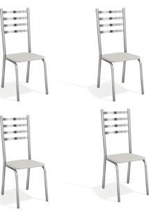 Conjunto Com 4 Cadeiras De Cozinha Alemanha Cromado E Branco