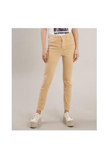 Calça De Sarja Feminina Skinny Cintura Alta Amarela