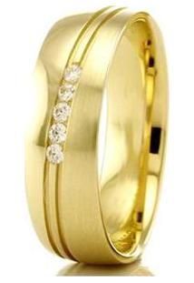 Aliança De Casamento Feminina Em Ouro 18K 750 Wm Joias 5,5Mm Com Zircônia F2440 - Feminino-Dourado