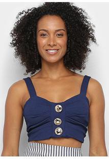 Cropped Lança Perfume Botões Feminino - Feminino-Azul