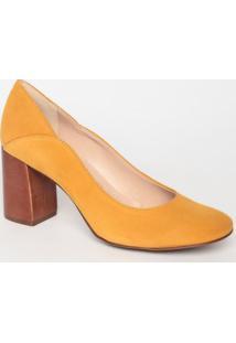 Sapato Tradicional Em Couro Acamurã§Ado- Amarelo & Marromloucos E Santos