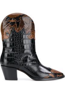 Paris Texas Bota Western Com Efeito Pele De Crocodilo - Marrom