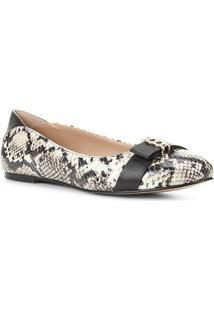 Sapatilha Couro Shoestock Cobra Corrente Feminina - Feminino-Off White+Preto