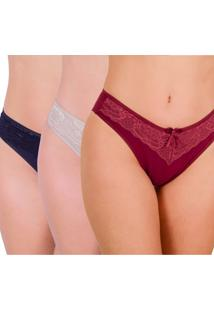 Kit 3 Calcinhas Vip Lingerie Em Cotton Com Renda Sobreposta