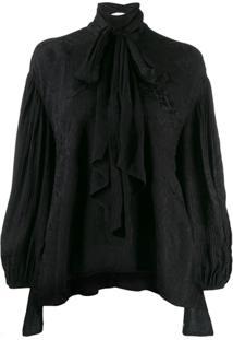 Chloé Blusa Assimétrica Com Laço - Preto
