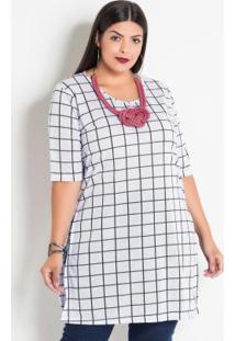 Blusa Alongada Xadrez Grid Plus Size Marguerite
