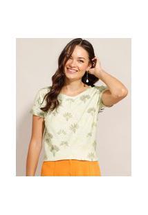 Camiseta Estampada Folhagem Manga Curta Decote Redondo Verde Claro