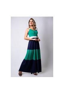 Vestido Pau A Pique Longo Básico Marinho E Verde
