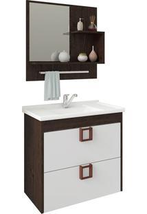 Conjunto Para Banheiro Com 1 Porta Lirio-Mgm - Café / Branco