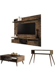 Painel Tv Livin 1.8 Com Mesa De Centro Lucy E Aparador Quad Deck - Hb