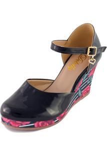 Sandália Espadrille Debelly Calçados Salto Médio Preto Com Floral