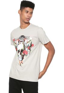 Camiseta Gangster Estampada Bege