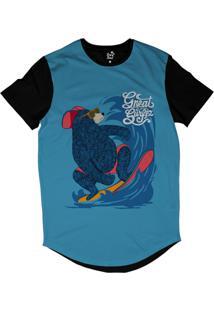 Camiseta Longline Long Beach Urso Onda Sublimada Azul