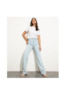 Calça Jeans Feminina Mindset Reta Loose Copenhagen Cintura Super Alta Azul Claro Marmorizado