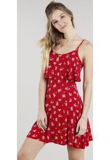 9b0bda9d8 CEA. Vestido Feminino Curto Evasê Estampado Floral Com Sobreposição Alça  Fina Vermelho