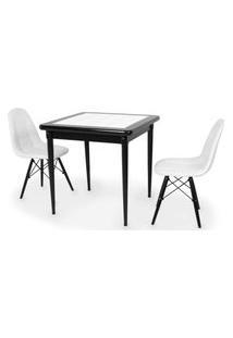 Conjunto Mesa De Jantar Em Madeira Preto Prime Com Azulejo + 2 Cadeiras Botonê - Branco