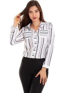Camisa Kinara Crepe Com Bolsos Manga Martingale Branco