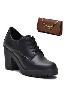 Kit Sapato Oxford Feminino + Bolsa Clutch Marrom