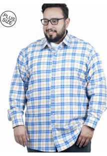 Camisa Plus Size Bigshirts Manga Longa Flanela - Branca