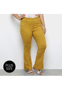 Calça Flare Heli Plus Size Feminina - Feminino-Amarelo