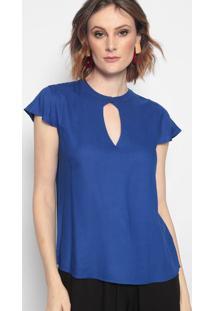 Blusa Com Vazado & Botã£O - Azul Escuro - Mobmob