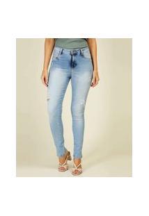 Calça Jeans Skinny Feminino Puídos