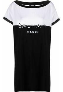 Balmain Vestido Reto De Tricô Com Estampa De Logo - Preto