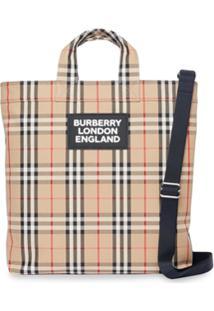Burberry Logo Appliqué Vintage Check Cotton Blend Tote - Neutro