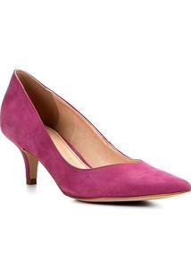 Scarpin Couro Shoestock Salto Médio Bico Fino - Feminino-Pink