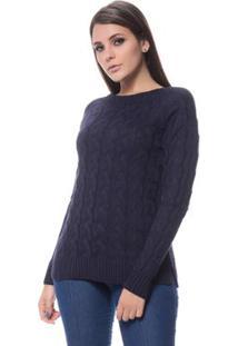 Blusa Logan Tricot Trançada Inteira Grossa - Feminino-Azul Escuro