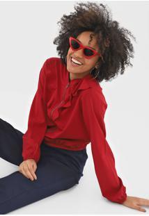 Jaqueta Fiveblu Babados Vermelha - Vermelho - Feminino - Algodã£O - Dafiti