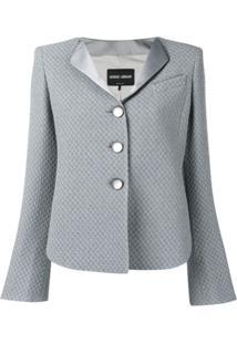 Giorgio Armani Checkerboard Jacquard Jacket - Azul